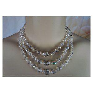 Aurora Borealis Crystal 3 Strand Vintage